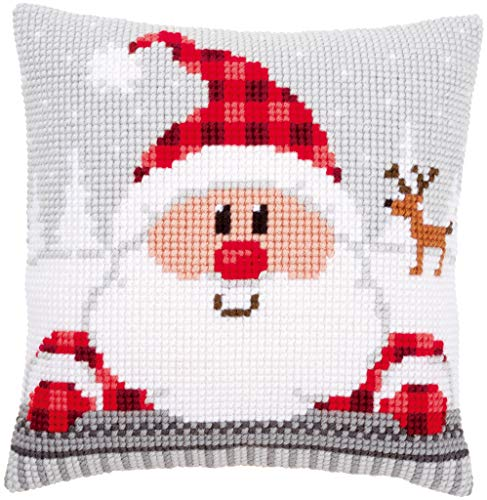 Vervaco Cross Stitch Kit: Cushion: Santa in a Plaid Hat, Acrylic, NA, 40 x 40cm