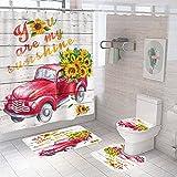 Taeamjone Fall Duschvorhang Set Herbst Badezimmer Vorhang mit Rutschfest Teppich, WC Deckelbezug & Badematte, Rose Duschvorhang mit 12 Haken, Wasserdicht Regentropfen Duschvorhang für Badezimmer