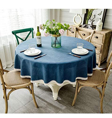 QKEMM Manteles Antimanchas para Banquetes Boda Recepciones Encaje de Lino de Algodón Suave Formal o Informal Celebrations y Eventos Circulo Azul Marino de 90cm de Diametro