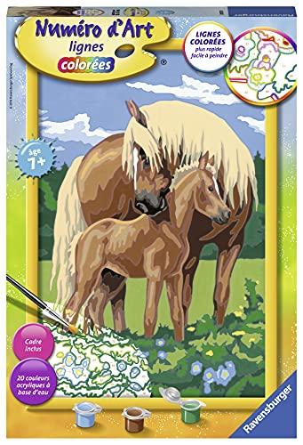 Ravensburger – Numéro d'art grand format – Fiers chevaux – loisir créatif – kit de peinture acrylique – activite détente – enfant dès 7 ans – 28921