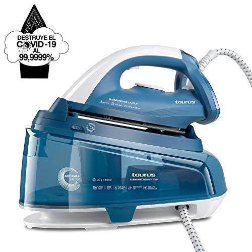 Taurus 918688000 Sliding Pro 2400-Centro de Planchado Non Stop de Rellenado Continuo sin desconectar, Elimina el 99,9999% de Virus y bacterias, 120 g/min, 1.5L, Cerámica