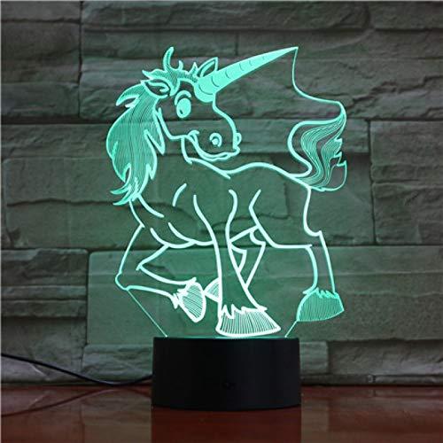 3D Animal Unicorn Paard Nacht Licht Illusie Lamp 7 Kleur Veranderend, met Afstandsbediening met USB-kabel Het is een verjaardagscadeau voor schattige kinderen en kan ook worden gebruikt voor Home Decoration