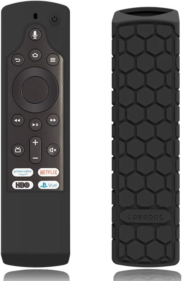 CaseBot Silicone Case for Fire TV Edition Remote - Honey Comb Series [Anti Slip] Shock Proof Cover for Amazon Insignia Smart HD TV Voice Remote/Element Smart TV Voice Remote, Black