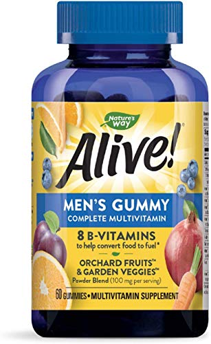 Nature's Way Alive! Men's Gummy Multivitamin, B-Vitamins, Delicious Fruit Flavors, 60 Gummies
