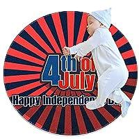ソフトラウンドエリアラグ 70x70cm/27.6x27.6IN 滑り止めフロアサークルマット吸収性メモリースポンジスタンディングマット,7月4日幸せな独立記念日