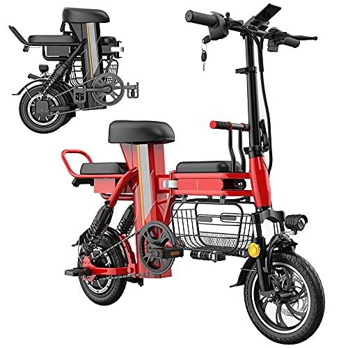 Bicicletas Eléctricas Plegables para Adultos Motor de 48V 350W Batería de Litio Extraíble de 25 a 160km de Alcance Asistencia de Pedal Tres Asientos Canasta de Gran Capacidad,Rojo,100km