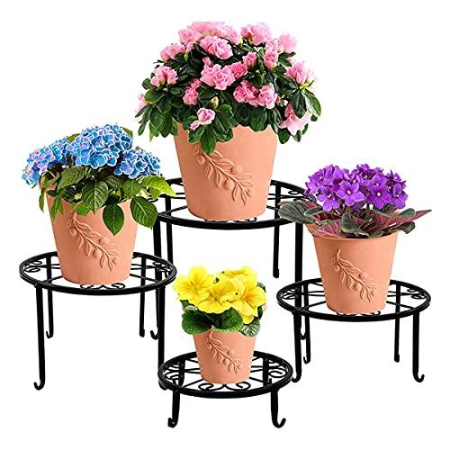 FGJKKRMI Conjunto de 4 Piezas Flowerpot Metal Plant Stand, Soporte de Plantas en Maceta Pesado, Metal Interior y al Aire Libre Anti-Rust Rust Rust Rust Rust Rift Stand Flowerpot (Negro)