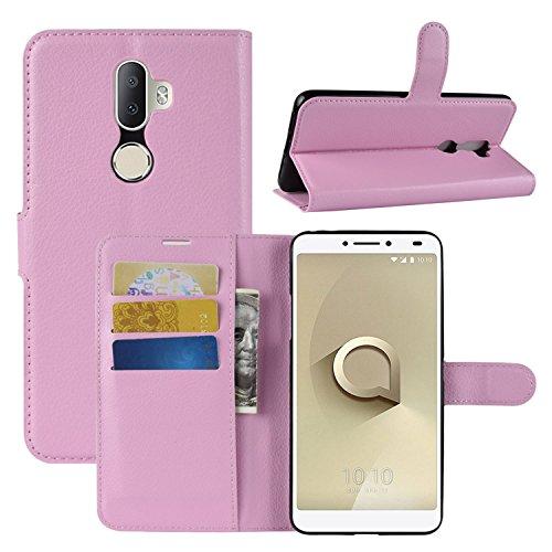 HualuBro Alcatel 3V Hülle, Leder Brieftasche Etui LederHülle Tasche Schutzhülle HandyHülle [Standfunktion] Handytasche Leather Wallet Flip Hülle Cover für Alcatel 3V (Pink)