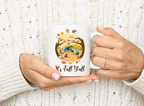 N\A It 's Fall Y' All Mug Taza de otoño Fun Fall Fall Scene Mug 11 oz Mujeres Hombres Vidrio Porcelana Mango Regalo alfarería starbuks gres Gruesas tasas Juego Blanco Cocina Lindo