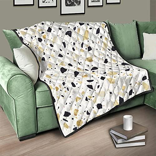 Flowerhome Terrazzo - Colcha con textura de mármol, para cama o sofá, para dormir, para adultos y niños, color blanco, 100 x 150 cm
