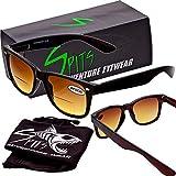 Spits Classic Wafarer Bifocal Sunglasses Black Frame (Bronze Lenses, Magnifier 1.5)