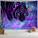 NYMB Tiger Tapestry Psychedelic Tiger Blacklight Art Tapestry, Mystic Galaxy Sky Fantasy Wild Animals Boho Hippie Tapestries, Trippy Space Tapestry Wall Handing for Bedroom Living Room Dorm (71'X60')