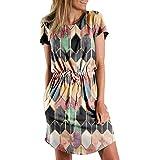 Fcostume Damen Elegant Kleider mit Gürtel Summer Mode Diamant Drucken Blusenkleider Ballkleid Festkleid Ladies Kurzarm Abendkleid Partykleid