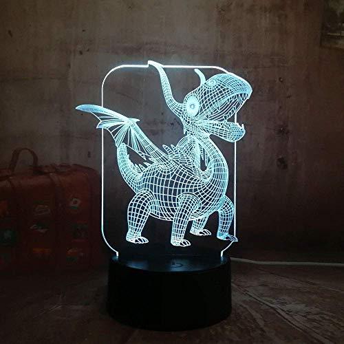 Niedliche kleine Pterodactyl 3D LED Nachtlicht USB-Birne Figur Schlafzimmer Schlaflicht USB Base Boy Kinder Weihnachtsgeschenk Spielzeug 7 Farbwechsel