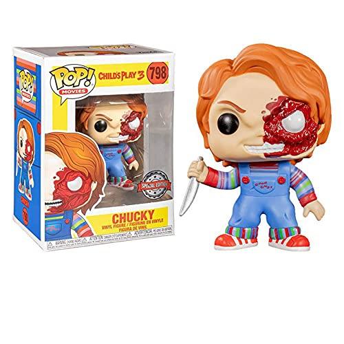 Figura de vinilo Pop de la serie de películas de terror para niños #798 Half Battle Damaged Chucky Collection figura de acción juguetes regalos para niños