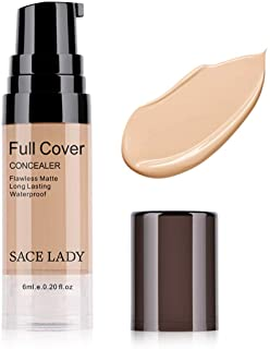 Pro Full Cover Liquid Concealer, Waterproof Smooth Matte Flawless Finish Creamy Concealer Foundation Corrector for Eye Dark Circles Spot Face Concealer Makeup Base, Size:6ml/0.20Fl Oz, Warm Natural