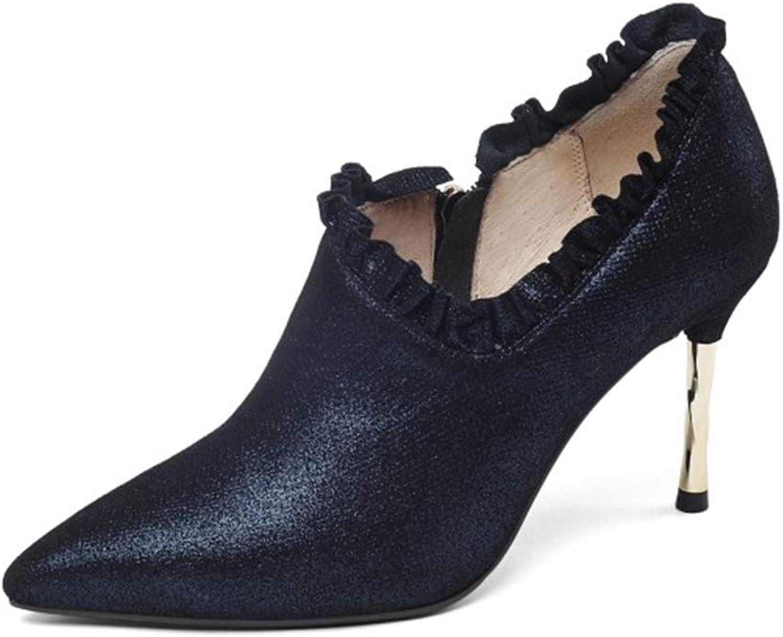 Damen High Heel Sandalen, Sexy Stiletto Heels, Deep Mouth Einzelne Schuhe Kunstleder Spitzen High Heel 3,1 Zoll Nachahmung Schaffell Spitze Schuhe Sommer, Blau,35  | Ruf zuerst