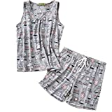 ENJOYNIGHT Women's Cute Sleeveless Print Tee and Shorts Sleepwear Tank Top Pajama Set (XX-Large, Coffee Cup)