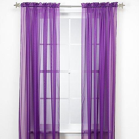 """GorgeousHomeLinenDifferent Solid Colors 2 PC Rod Pocket Sheer Window Curtains Treatment Drape Voile Elegant Panels 55"""" Width X 63"""" 84"""" 95"""" Length (84"""" Length, Purple)"""