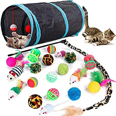 21 Pcs Cat Toys for Indoor Cats Collapsible Cat Tunnel Interactive Feather Teaser Wand Ball Toy for Kitten Cats