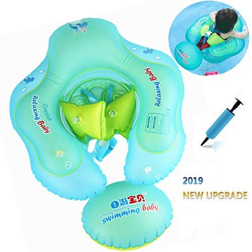 AMAES Baby Inflatable Swimming Pool Float Ring with Safe Bottom Support and Swim Buoy Floats, Newborn Baby Floats Swim Trainer, Swimming Pool Accessories for Newborn Baby Kid Toddler Age 3-36 Months