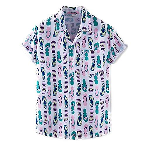 Casuales Camisas Hombre Moda Impresión Verano Hombre Camiseta Cuello V Manga Corta Playa Shirt Botón Placket Hawaiana Camisa Casual Wicking Hombre Deportiva Camisa XH78 M