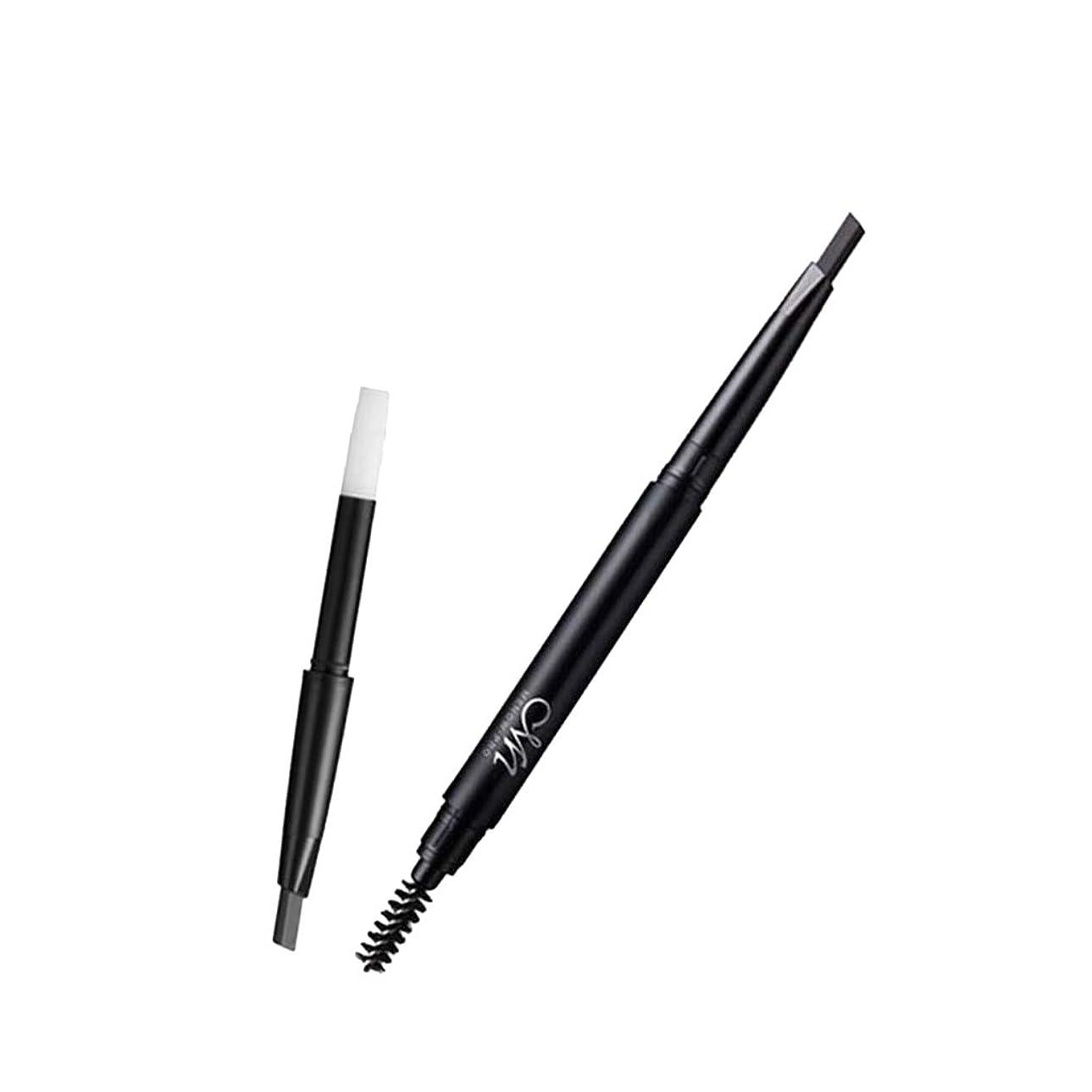渇きわかりやすいカプラーアイブロウペンシル 鉛筆リフィル 眉ペンシル 交換可 詰め替え 防水 デュアルエンド 眉毛ライナー ペンシル 3色選べ - ブラック