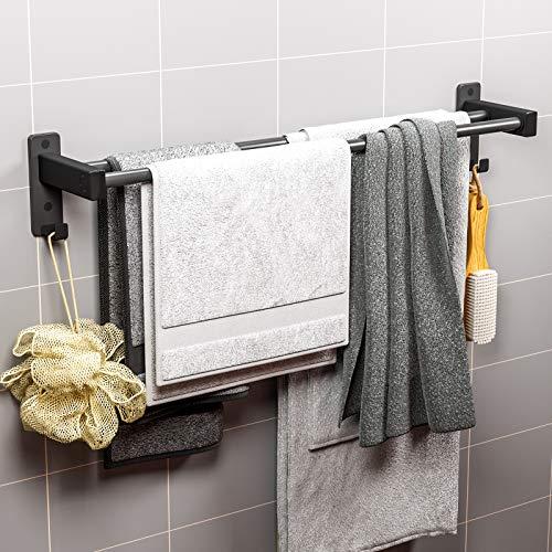 ANVAVA Zweiarmig Handtuchhalter 60cm mit Haken, Aluminium Handtuch Halter Wandmontage Handtuchstange Bad für Badezimmer WC Küche, Matt Schwarz