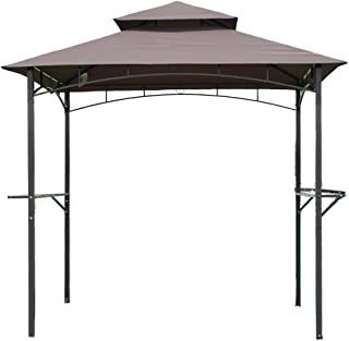 FDW 8'x 5'BBQ Grill Gazebo Barbecue Canopy Tent w/Air Vent, Brown