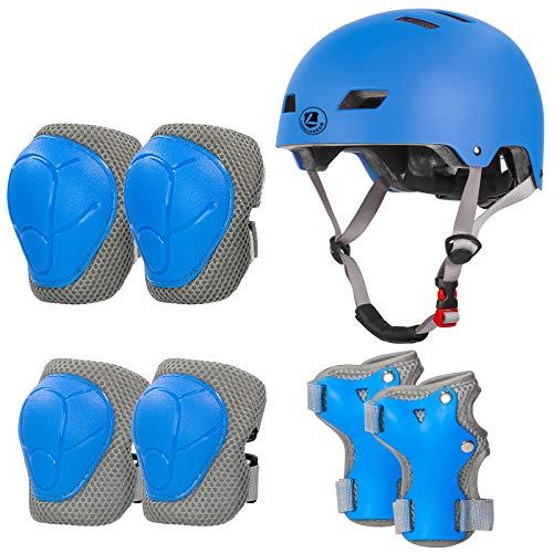 LANOVAGEAR Schonerset Kinder Protektoren Schutzausrüstung Kinder Knieschützer Set (2-8Jahre) mit Kinderhelm Ellbogenschützer und Handgelenkschützer für Inliner Skateboard Fahrrad Rollschuh (Blau, S)