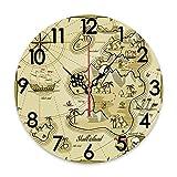 GEEVOSUN Reloj de Pared Redondo, silencioso, sin tictac, Pirata, Mapa Dibujado a Mano de Treasure Island Sea Adventure, brújula de navegación oceánica, decoración del hogar para Sala de Estar, Cocina