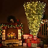 7.4ft Upside Down Green Christmas Tree, Artificial Holiday Christmas Pine Tree with LED Warm White Lights/Red Artificial Berries and PVC Pine Needles for Home, Office and Party (Style2)