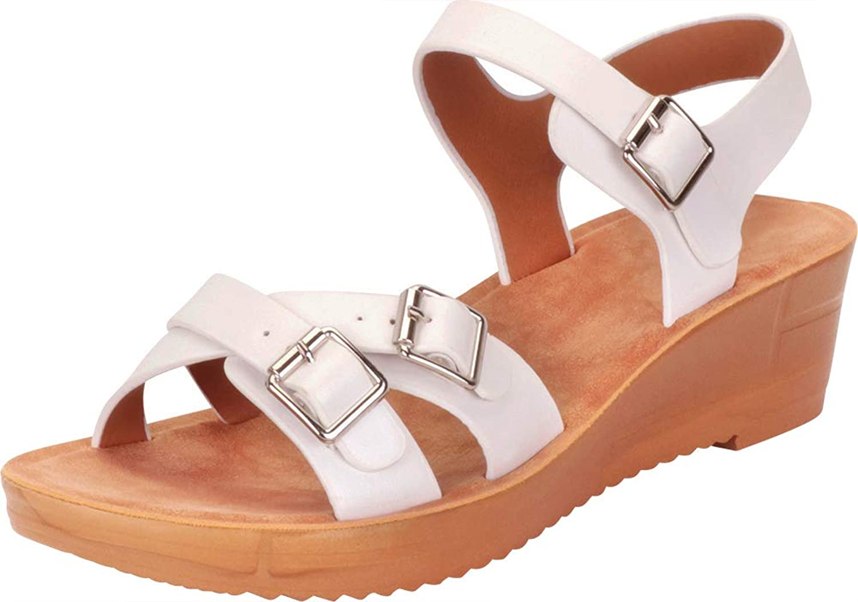 Cambridge Select Women's Retro 70s Crisscross Strappy Buckled Chunky Platform Wedge Sandal