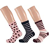 3 Paar Kuschelsocken 35-42 Bettsocken Damen Kuschel Socken Haussocken (Rosa-Flieder)