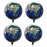 Toyvian 4 Piezas Planeta Tierra Globos Mapa del Mundo Globo de Mylar película de Aluminio Creativa Globos de Helio 22 Pulgadas 4d