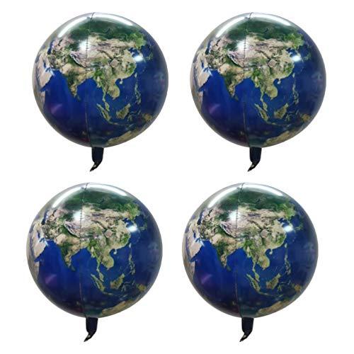 Toyvian 4 Piezas Planeta Tierra Globos Mapa del Mundo Globo de Mylar pelcula de Aluminio Creativa Globos de Helio 22 Pulgadas 4d
