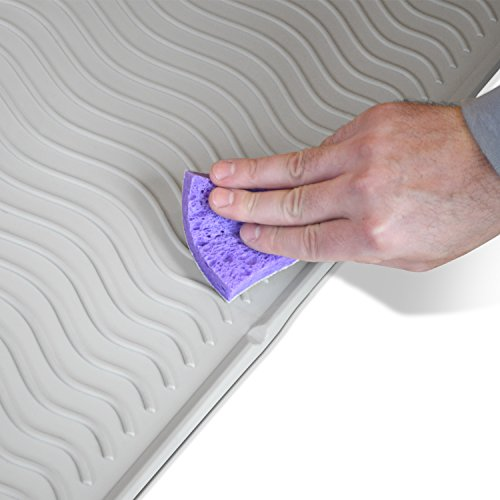 PetFusion Toughgrip Cat Litter Mat - (Large). [Easy Surface Cleaning, No More Mold Or Mildew, Waterproof FDA Grade Silicone, Longer Lasting Accident Protection]