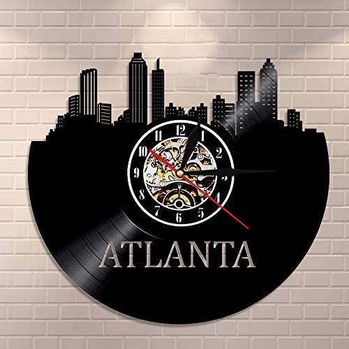 BFMBCHDJ Schallplattenuhr Wandkunst Atlanta Wanddekoration Atlanta Heimatstadt Stadtbild Wanduhr USA Reisegeschenk