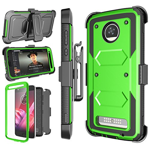 Njjex Moto Z2 Play Case, for Moto Z2 Force Case, [Nbeck] Shockproof Heavy Duty Built-in Screen Protector Rugged Holster Locking Belt Swivel Clip Kickstand Hard Shell Cover for Moto Z2 Play [Green]