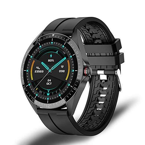 LJMG Smart Watch, GW16T Pantalla Redonda, Reloj de Llamada Bluetooth, monitoreo de ritmos cardíaca, Relojes multifuncionales para Hombres y Mujeres,D