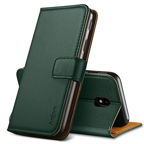 Anjoo Funda Compatible con Samsung Galaxy J5 2017, Suave PU Leathlux Case con Flip Case Cover, Cierre Magnético, Función de Soporte, Billetera con Tapa Tarjetas, Verde Oscuro