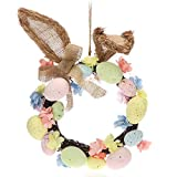 com-four® Corona de Pascua con Huevos de Pascua y Orejas de Conejo, Centro de Mesa Decorativa,...