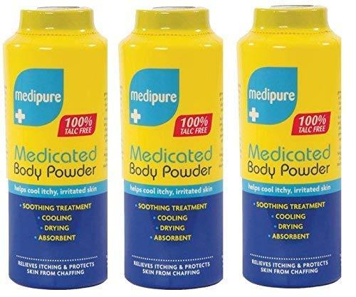 3 x MEDIPURE Medicated Body Powder 100% TALC FREE 200g (600g)