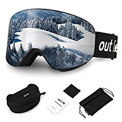 outlife ski goggles snowboard goggles hyperboloid snow goggles OTG Anti-Fog UV400 protection farsightedness interchangeable lens frameless ski goggles for women men adults teenagers snowboarding skiing