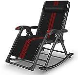 Tumbona ligera, silla mecedora de jardín ZeroGravity para exteriores, sillón reclinable plegable, tumbona ajustable, asiento basculante (color: negro + rojo) (color: negro + rojo + almohadilla de algo