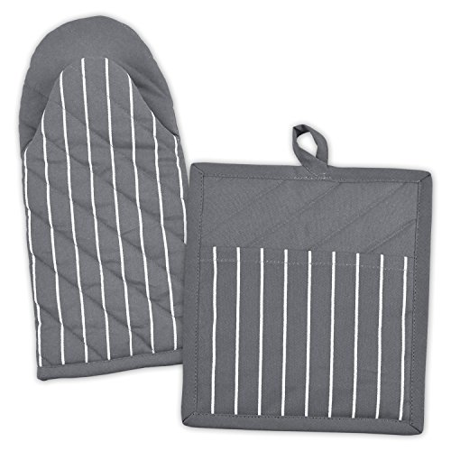 DII 100% Cotton, Machine Washable, Everyday Kitchen Basic, Stripe Commercial Grade, Restaurant Quality Chef Oven Mitt and Pot Holder Gift Set, Gray
