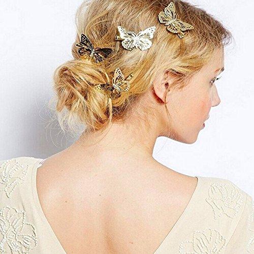 Pixnor Golden Butterfly Hair Clip bandeau cheveux accessoires 4pcs