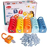 Dinhon ABC Learning Lock Educational Letter Combination-with 26 Locks, 26 Keys Montessori Preschool Alphabet Learning Game for Ages 3 yrs+ Early Education Toys