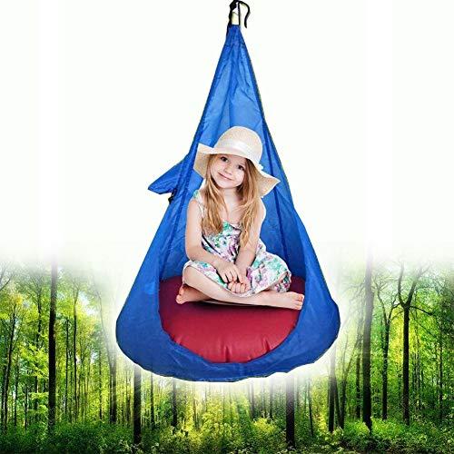 Schommelstoel Hangend Kinderhoektent, Kinderpod Schommelstoel Binnen, Hangende Speelgrot Hangmat Buiten Polyester Lees Gezellig Slapen (Blauw)