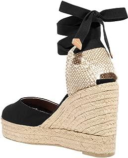 Womens Closed Toe Lace Up Espadrille Platform Wedges Sandals Shoes Canvas Ankle Tie Strap Dress Shoes